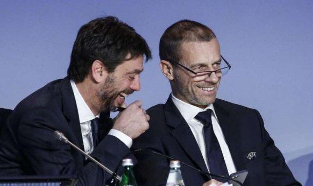 Andrea Agnelli, patron de l'ECA, avec Aleksander Ceferin, président de l'UEFA