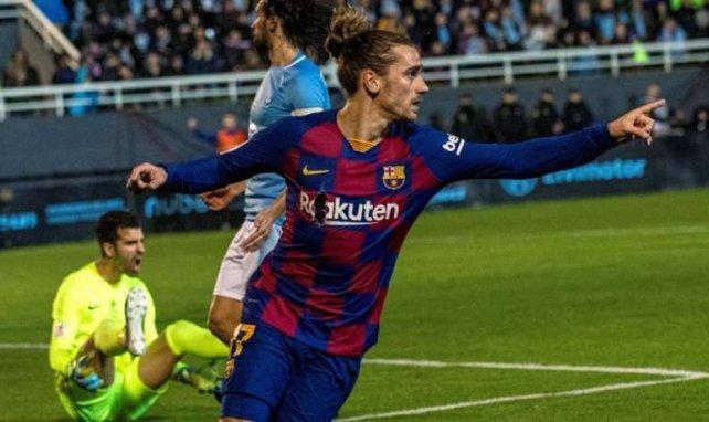 Antoine Griezmann fête un but avec le Barça
