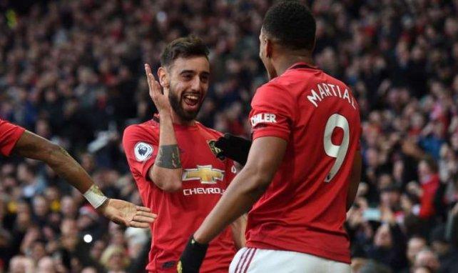 Bruno Fernandes et Anthony Martial lors du derby de Manchester United
