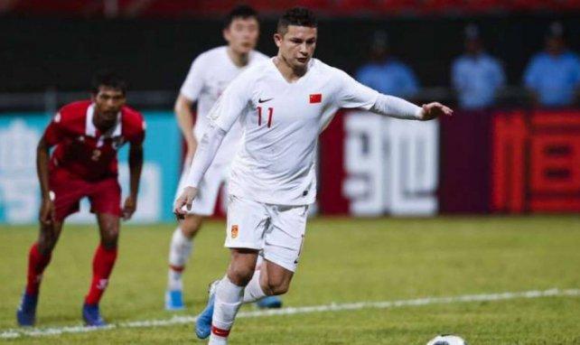 Elkeson, qui marque ici son premier but en sélection, n'a pas manqué ses débuts avec la Chine