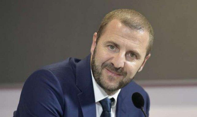 Florian Maurice lors de la conférence de presse de présentation de Jean Lucas à l'OL