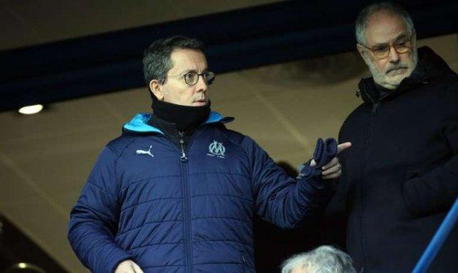 Jacques-Henri Eyraud dans les tribunes de l'Orange Vélodrome avec Andoni Zubizarreta