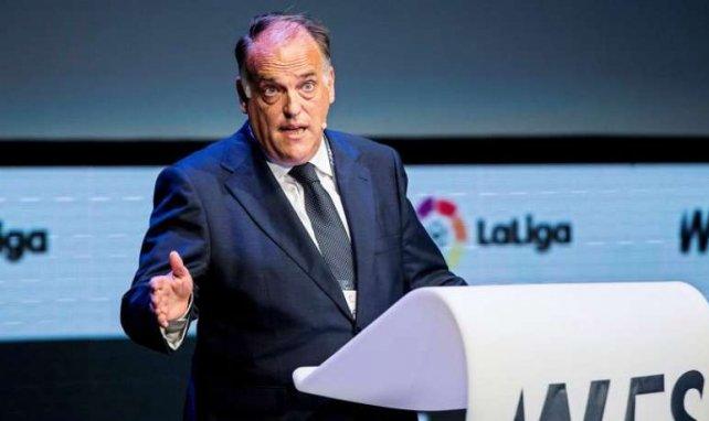 Javier Tebas, le président du foot espagnol, lors du sommet mondial du football en octobre 2017