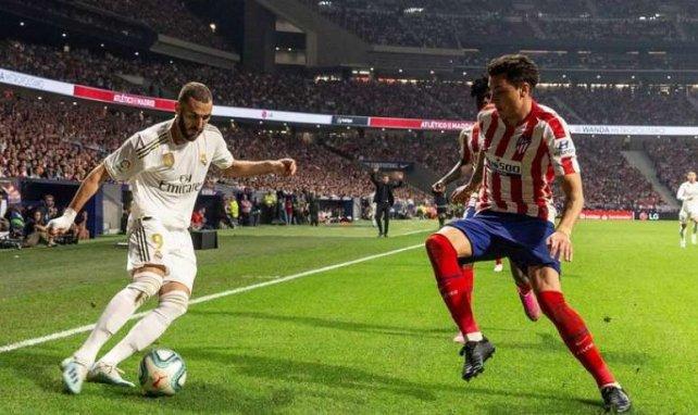 Karim Benzema et José Maria Giménez lors du derby disputé au Wanda Metropolitano cette saison (0-0)