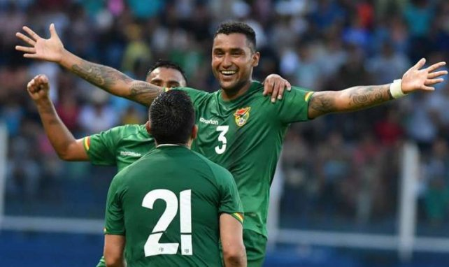 Le défenseur bolivien Adrian Jusino célèbre avec ses coéquipiers face au Nicaragua (2-2).