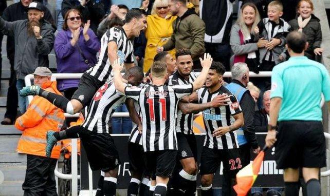 Les joueurs de Newcastle célèbre un but lors de la rencontre face à Stoke City en Premier League