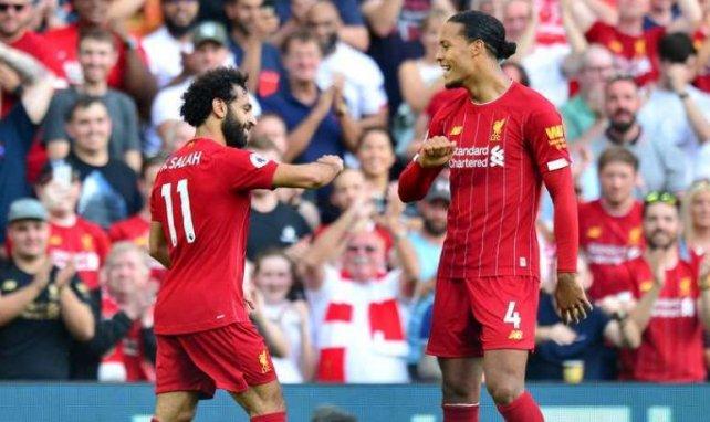 Mohamed Salah et Virgil van Dijk célèbrent un but lors de Liverpool-Arsenal