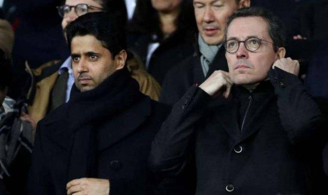 Nasser Al-Khelaïfi et Jacques-Henri Eyraud lors d'une rencontre entre le PSG et l'OM