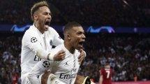 Neymar et Kylian Mbappé lors d'un match de Ligue des Champions
