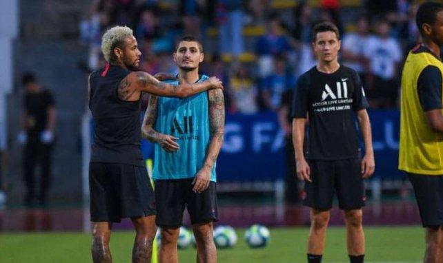 Neymar et Marco Verratti lors de la préparation parisienne en Chine
