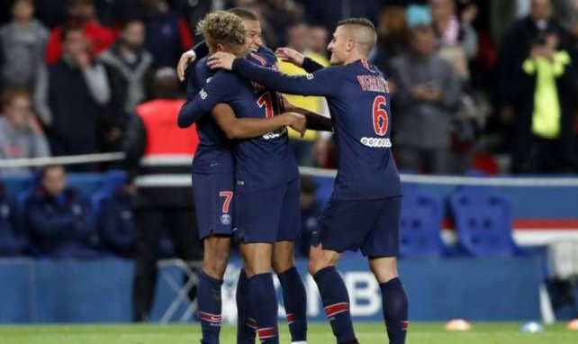 Neymar, Mbappé et Verratti lors d'une rencontre entre le Paris SG et l'OL