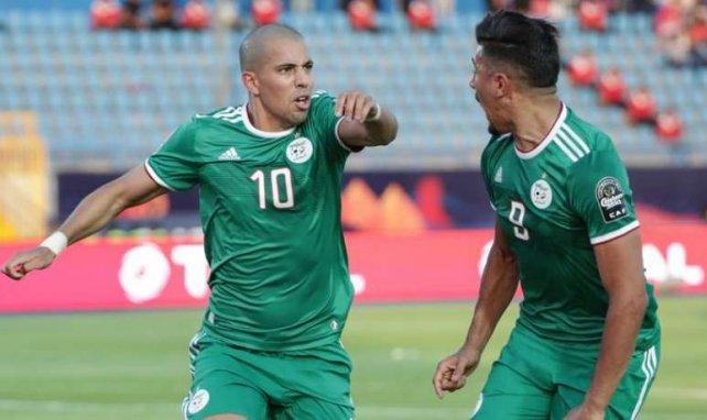 Sofiane Feghouli et Baghdad Bounedjah lors de la rencontre entre l'Algérie et la Côte d'Ivoire