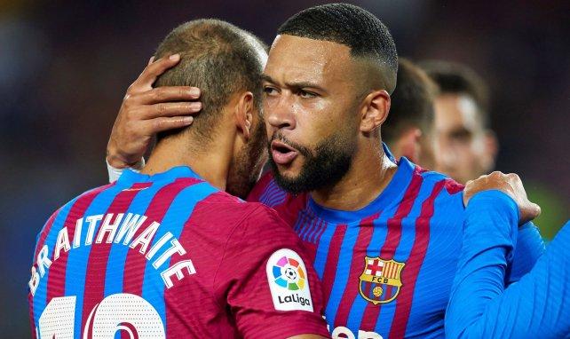 Memphis Depay et Martin Braithwaite célèbrent avec le Barça
