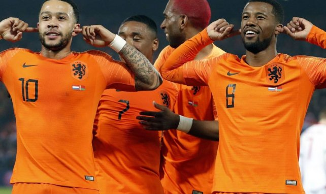 Memphis Depay et Georginio Wijnaldum, sous les couleurs des Pays-Bas