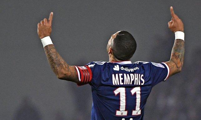 Memphis Depay après un but avec l'Olympique Lyonnais