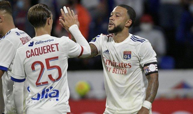 Memphis Depay célèbre l'un de ses buts face à Dijon
