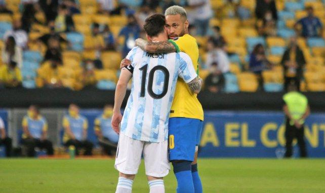 Lionel Messi et Neymar durant la finale de Copa América 2021