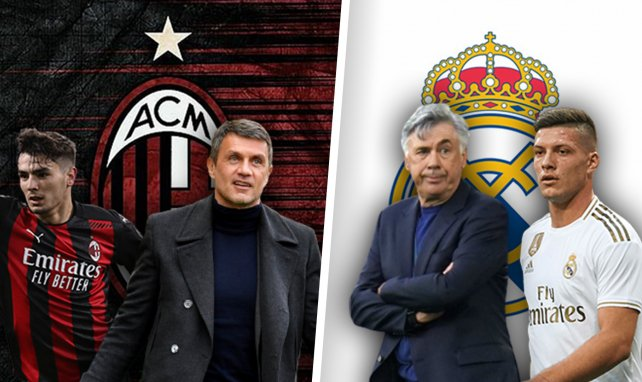 Brahim Diaz, Paolo Maldini, Carlo Ancelotti et Luka Jovic