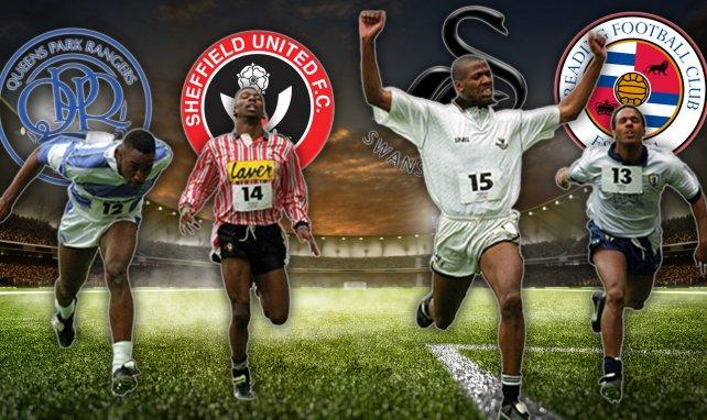 Les finalistes du 100m organisé par le football anglais