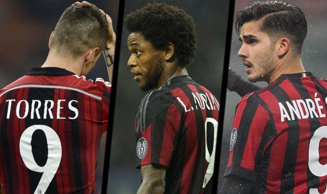 Fernando Torres, Luiz Adriano et André Silva sous le maillot de l'AC Milan