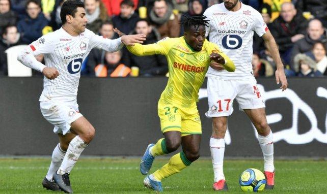 Moses Simon lors d'un match entre le FC Nantes et le LOSC