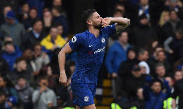 Olivier Giroud célèbre un but sous les couleurs de Chelsea