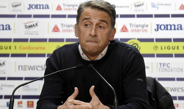 Le président du Toulouse FC Olivier Sadran en conférence de presse