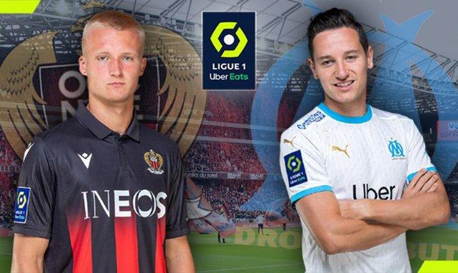 Kasper Dolberg (OGC Nice) et Florian Thauvin (OM)
