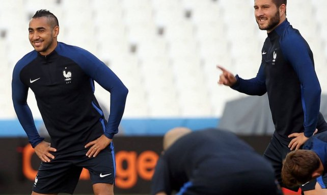 Dimitri Payet et André-Pierre Gignac en Equipe de France