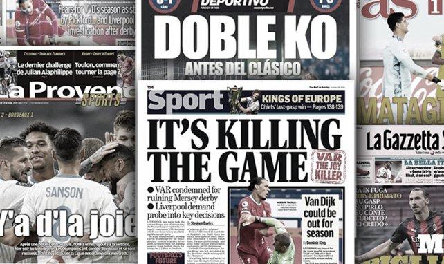 La colère noire de Liverpool fait les gros titres en Angleterre, l'Espagne sous le choc des défaites du Real Madrid et du FC Barcelone