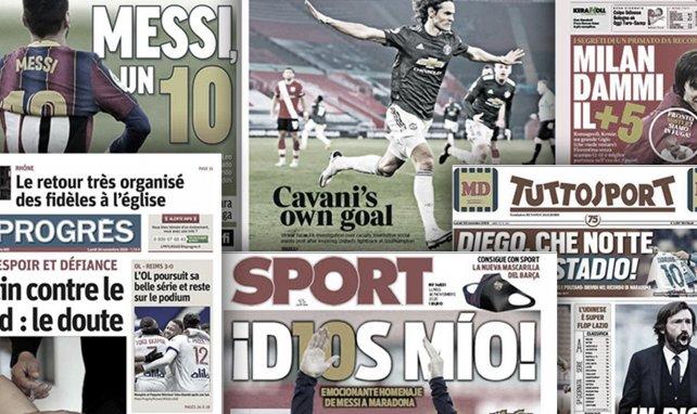 L'Angleterre s'emballe déjà pour Edinson Cavani, l'hommage historique de Lionel Messi à Diego Armando Maradona fait grand bruit