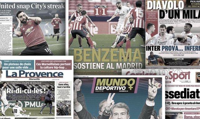 Le sauveur Karim Benzema met Madrid à ses pieds, l'élimination honteuse de l'OM fait les gros titres
