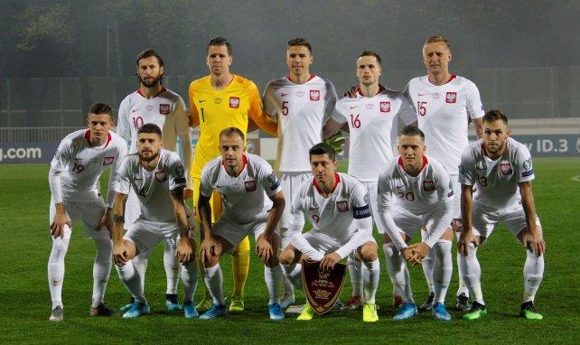 L'équipe de la Pologne lors d'un match en Lettonie