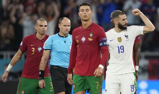 Benzema, Cristiano Ronaldo et l'arbitre Mateu Lahoz, les trois protagonistes majeurs de Portugal-France