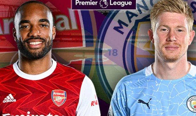 Alexandre Lacazette (Arsenal) et Kevin De Bruyne (Manchester City)