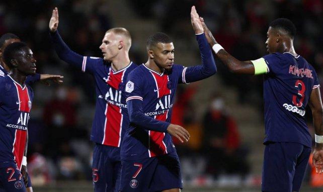 Les Parisiens célèbrent le but de Mbappé