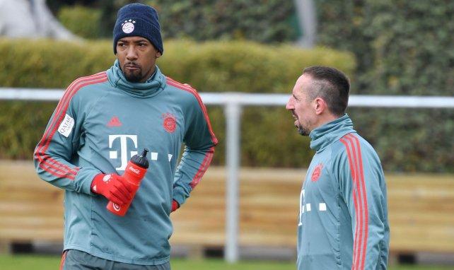 Jérôme Boateng et Franck Ribéry à l'entraînement avec le Bayern Munich