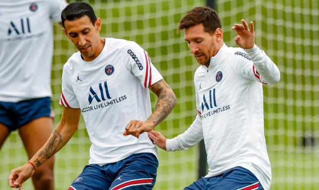 Angel Di Maria à l'entraînement avec Lionel Messi