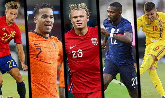 Llorente (Espagne), Kluivert (Pays-Bas), Haaland (Norvège), Thuram (France) et Hagi (Roumanie)
