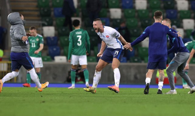 Milan Skriniar fou de joie après avoir obtenu la qualification en Irlande du Nord