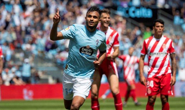 Sofiane Boufal célèbre un de ses buts marqués avec le Celta Vigo