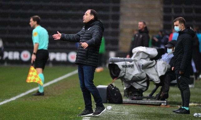 Stéphane Moulin lors d'un match de Ligue 1 du SCO