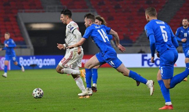 Dominik Szoboszlai juste avant son but décisif contre l'Islande