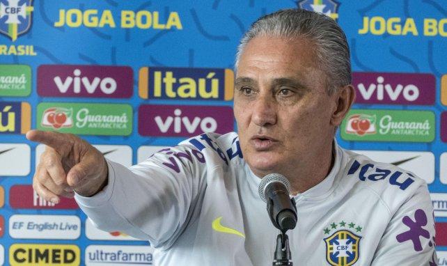 Le selectionneur du Brésil Tite en conférence de presse