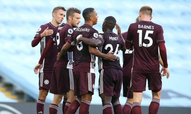 Les joueurs de Leicester célèbrent un but contre Manchester City