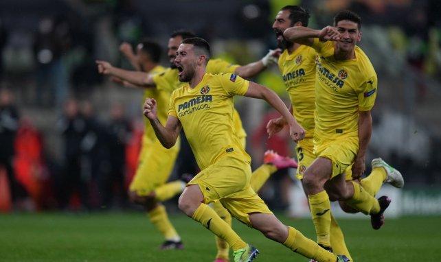 La joie des joueurs de Villarreal en finale de C3