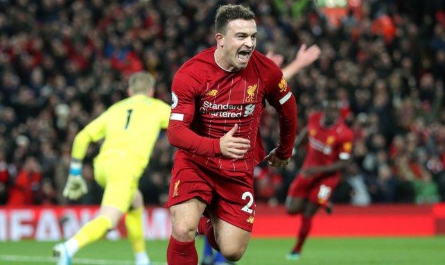 Xherdan Shaqiri célèbre un but avec Liverpool